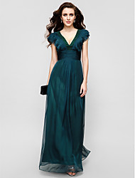 A-Line V-neck Floor Length Chiffon Formal Evening Military Ball Dress with Draping Ruffles Ruching by TS Couture®