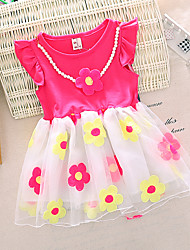 Girl's Pink / Red / Yellow Dress,Floral Cotton Summer