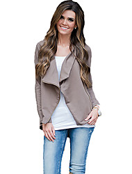 Women's Going out Sexy / Street chic Wrap,Solid Asymmetrical Long Sleeve Gray Cotton Medium