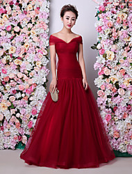 Mermaid / Trumpet Off-the-shoulder Floor Length Tulle Charmeuse Formal Evening Dress with Ruching by HUA XI REN JIAO