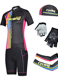 CHEJI Women's Short Sleeve Cycling Jersey Suit & Pirate Hat + Gloves + Sleeves