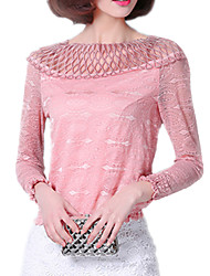 Spring Fashion Women's Round Neck Long Sleeve Blouse Sexy Lace Elastic Blouse OL Work Casual Blouse Shirt