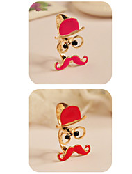 European and American Retro Glasses Beard Hat Playful Grandfather Bicyclic Ring
