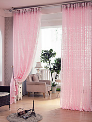 Two Panels Country Pink Living Room Polyester Sheer Curtains Shades