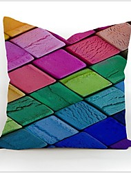 Colourful Geometric Printed Cotton Linen Pillow Case Home Pillowcase Cover Decorative Square Gift 45 X 45cm