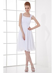 Knee-length Chiffon Bridesmaid Dress A-line Straps with Draping