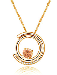 Noble Noble Elegant 18k Yellow Gold Plated Austria Crystal Champagne Stone Circle Pendant Necklace