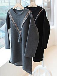 Girl's Black / Gray Hoodie & Sweatshirt , Floral Cotton Spring