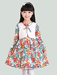 Girl's Solid Dress,Cotton Fall Multi-color