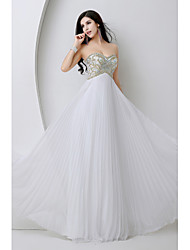 Formal Evening Dress Sheath / Column Sweetheart Floor-length Chiffon with Beading / Crystal Detailing