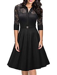 Women's Casual / Day Solid / Print Sheath / Skater Dress , Shirt Collar Knee-length Cotton / Polyester