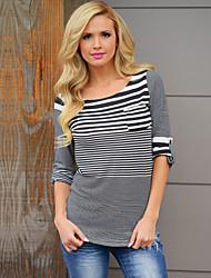 Damen Gestreift Street Schick Lässig/Alltäglich T-shirt,Rundhalsausschnitt Herbst Langarm Weiß / Gelb Polyester Undurchsichtig