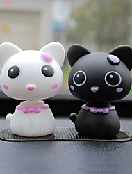 ZIQIAO Car Lovely Head Cat Ornaments Figurines Automotive Interior Products