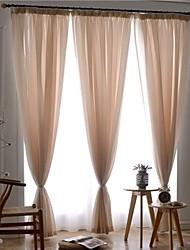 Dois Painéis Tratamento janela Europeu , Sólido Quarto Poliéster Material Sheer Curtains Shades Decoração para casa For Janela