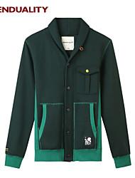 Trenduality® Hommes Col de Chemise Manche Longues Pull & Cardigan Vert - 47040