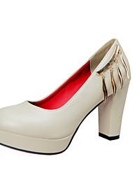 Damen-High Heels-Outddor / Büro / Lässig / Sportlich / Kleid-Leder / Kunstleder-Blockabsatz-Absätze / Plateau / Pumps / Rundeschuh /