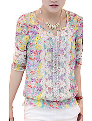 Women's Floral Pink / Green Blouse , Round Neck ¾ Sleeve