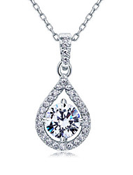 Korean Exquisite Sterling Silver Zircon Pendant Necklace Wedding Accessories for Women