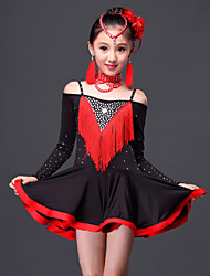 Latin Dance Dresses Children's Performance Milk Fiber Tassel(s) 4 Pieces Fuchsia / Red / Multi-color