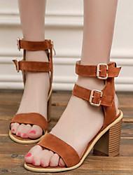 Women's Summer Heels / Open Toe Fleece Dress / Casual Chunky Heel Buckle / Zipper Black / Yellow / Beige