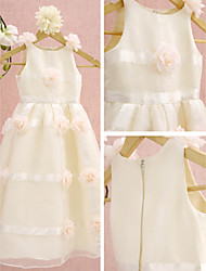 Lanting Bride A-line Tea-length Flower Girl Dress - Organza Sleeveless Scoop with Flower(s)