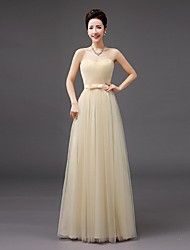 Floor-length Tulle Bridesmaid Dress - Sheath / Column Sweetheart with Bow(s)