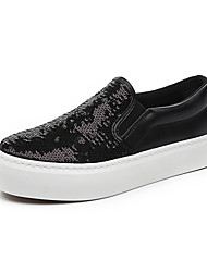 Women's Shoes Canvas Flat Heel Creepers / Comfort / Round Toe Loafers / Slip-on Outdoor / Casual Black / Silver