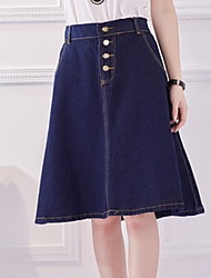 Women's Solid Blue Skirts Knee-length