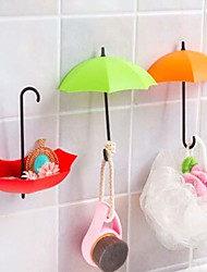 Umbrella Style Rayon Hooks Decorative Small Objects Red Pink Yellow 3PCS