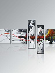 VISUAL STAR®5 Panel Modern Abstract Cityscape Oil Painting Wall Decor Art Ready to Hang