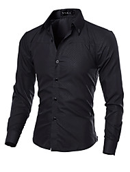 HOT Men's fashion casual long-sleeved shirt Slim solid color shirt Quilted Obscure MDUM20