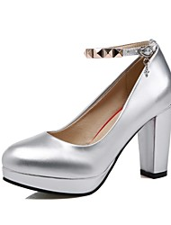 Women's Shoes Leatherette Chunky Heel Heels Heels Wedding / Office & Career / Party & Evening Pink / Red / Silver