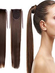 Braun Synthetik Pferdeschwanz Gerade Micro Ring Hair Extensions Pferdeschwanz 16inch Gramm Medium (90g-120g) Menge