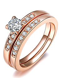 Statement Rings Crystal Simulated Diamond Alloy Classic Fashion Silver Golden Jewelry Wedding Party 1pc