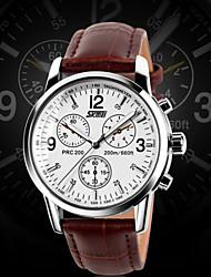 Мужской Нарядные часы Кварцевый Защита от влаги Кожа Группа Черный марка