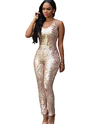 Women's Gold Geometric Sequin Jumpsuit