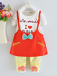 Girl's Pink / Red / Yellow Clothing Set,Bow Cotton Spring / Fall