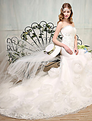 Trumpet/Mermaid Wedding Dress - White Court Train Sweetheart Lace / Tulle