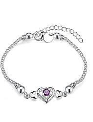 Lureme® Romantic Heart with Purple Zircon Snake Chain Silver Plated Bracelet for Women