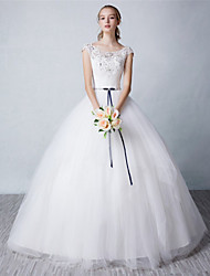 Ball Gown Wedding Dress - Ivory Floor-length Scoop Tulle