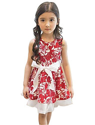 Girl's Black / Red Dress,Floral Polyester Summer