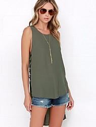 Women Summer Casual Tee Shirt Solid Sleeveless Hollow Out Irregular Chiffon Blouse Tops  Blusas Femininas