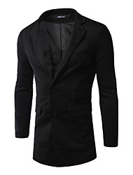 Men's Long Sleeve Long Blazer , Polyester Pure