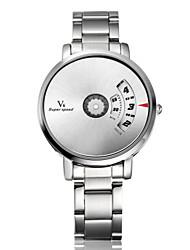 V6 Hombre Reloj de Pulsera Reloj creativo único Cuarzo Acero Inoxidable Banda Plata