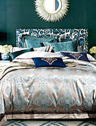 4-Piece Blue flowers Rome Style Jacquard  Duvet Cover Set Bedding 100%cotton Embroidered