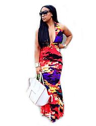 Women's Going out Boho Swing Dress,Print Deep V Maxi Sleeveless Multi-color Polyester / Spandex Summer