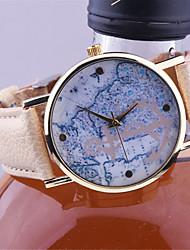 nueva llegada de la manera de anclaje correa de cuero de Ginebra relojes mapas náuticos vagas únicos de las mujeres se visten los relojes