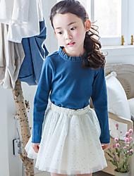 Girl's Blue Dress , Dresswear Cotton / Polyester Spring