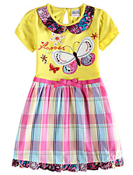 Girl's Dress Baby Short Sleeve Clothes Plaid Skirt Children Dresses(Random Printed)