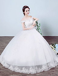 Princess Wedding Dress Floor-length Off-the-shoulder Organza / Satin with Lace